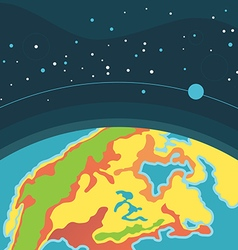 Earth in outer space cosmic background with planet vector