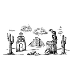 Mexican desert landscape with griffin on barrel vector