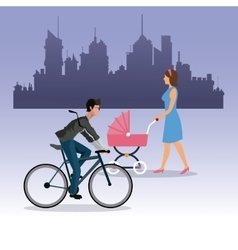 Woman walking pram and boy ride bike city vector