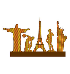 Color silhouette of set of the world landmark vector