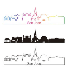 San jose skyline linear style with rainbow vector