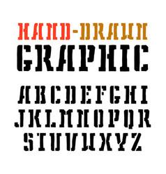 Stencil-plate serif font vector