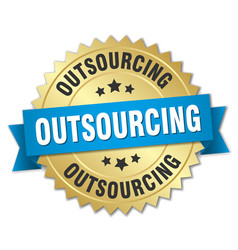 Outsourcing round isolated gold badge vector