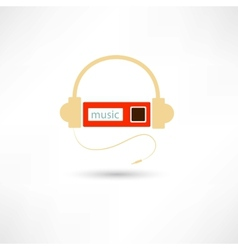 Headphones and mp3 player vector