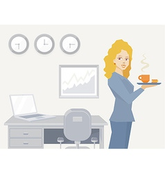Woman portrait secretary with coffee in h vector