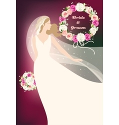 Bride and roses vector