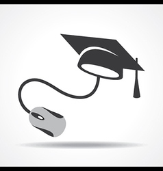 E-learning concept with graduation cap and compute vector