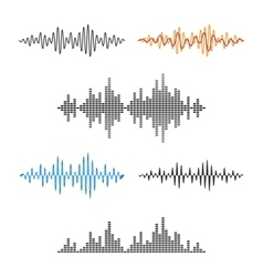 Waveform shape soundwave audio wave graph set vector