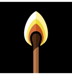 Lighted safety match on black background vector