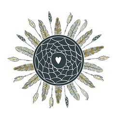 Dream catcher with feathers beautiful hand-drawn vector