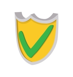 Yellow shield with green tick icon cartoon style vector