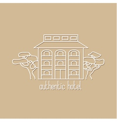 Graphic line art of authentic hotel vector