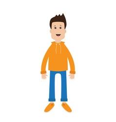 Funny cartoon guy Cute boy character Casual dress vector image