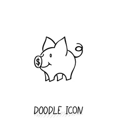Icon with doodle piggy bank vector