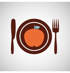 Apple food health cutlery vector
