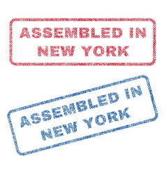Assembled in new york textile stamps vector