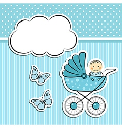 Baby boy arrival announcement vector image vector image
