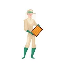 Beekeeper in protective gear holding honeycomb vector image vector image