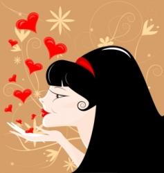 black-haired girl vector image