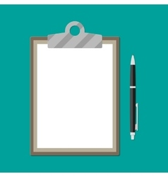 Brown clipboard with empty white paper and pen vector