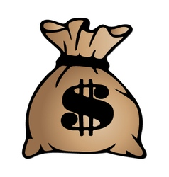 Brown money bag icon with dollar sign isolated on vector