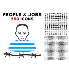 Camp prisoner icon with bonus vector
