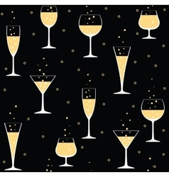 Champagne glasses on black vector