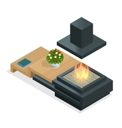 Fireplace modern design Flat 3d isometric vector image vector image