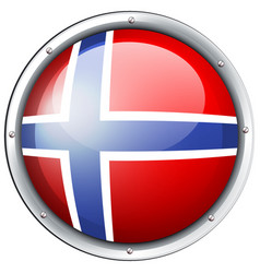 Flag of norway on round badge vector