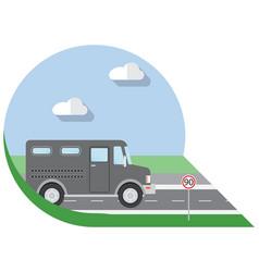 Flat design city transportation bank armored truck vector