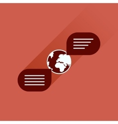 Flat icon with long shadow global communication vector