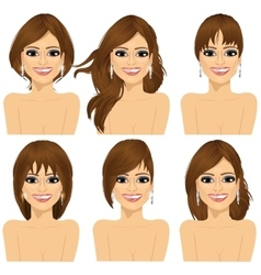Girl with collection of different hairstyles vector