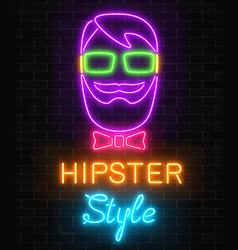 glowing neon hipster man sign with lettering and vector image