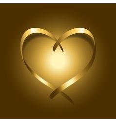 Gold silk ribbon heart vector image
