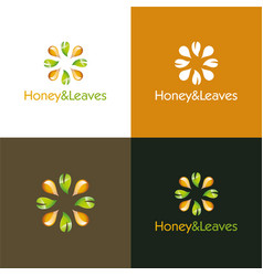 Honey and leaves vector