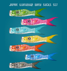 japan fish koinobori flag set vector image