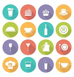 kitchen icons on white vector image vector image