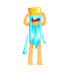 Man turning a bucket of water on his head to cool vector