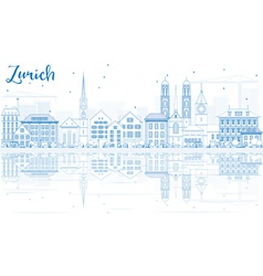 Outline zurich skyline with blue buildings vector