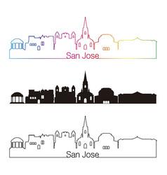 san jose skyline linear style with rainbow vector image vector image