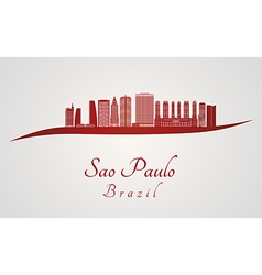 Sao paulo v2 skyline in red vector