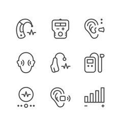 Set line icons of hearing aid vector