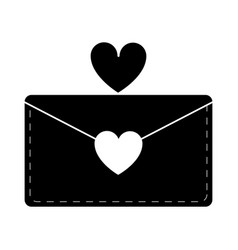 Silhouette email envelope message love vector