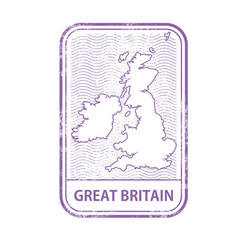 stamp with contour of map of great britain vector image vector image