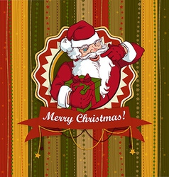 Vintage Christmas card with Santa Claus vector image vector image