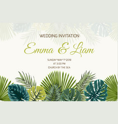 wedding invitation green turquoise tropical leaves vector image