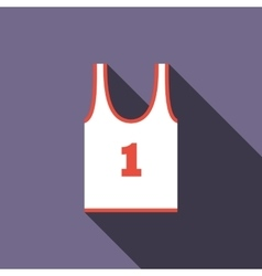 White tank top with number one icon flat style vector image