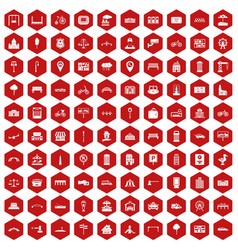 100 city icons hexagon red vector