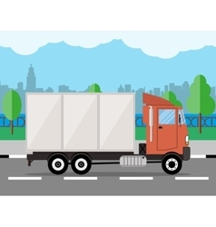 Small delivery truck cityscape river clouds vector