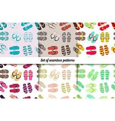 Set seamless patterns of flip flops vector
